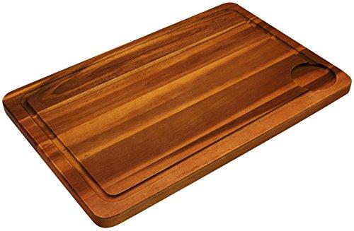 Fackelmann Schneidebrett Akazie, Küchenbrett aus Natur-Holz als Frühstücksbrett verwendbar - Bruch- & Verschleißfestigkeit, Menge: 1 Stück Test