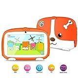 LNLJ Tablet PC para niños de 7 Pulgadas, Control Parental/Modo Infantil, Aprendizaje y Juegos preinstalados, cámara Doble con Estuche de Silicona,Orange,1G+8G