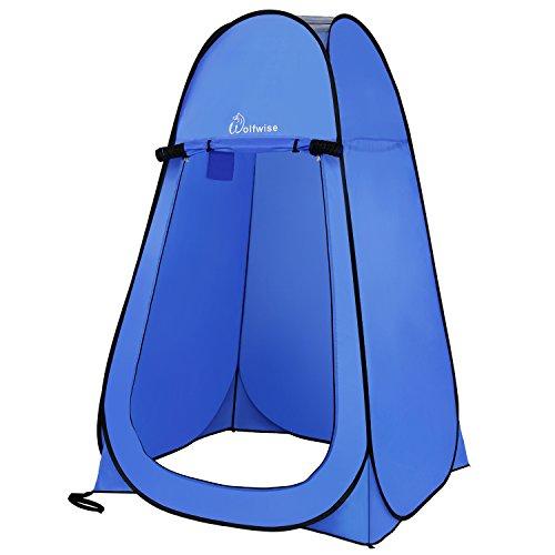 WolfWise Tienda de Campaña Tent Abrir Cerrar Automáticamente Pop Up Portable Sirve Para Camping Playa Bosques Zonas de montaña Ducha Aseo Carpas,Azul