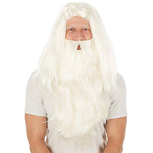 Perücke Weihnachtsmann + Bart | Nikolaus Santa Claus Zauberer Fasching Halloween (Hipster Kostüm Ideen)