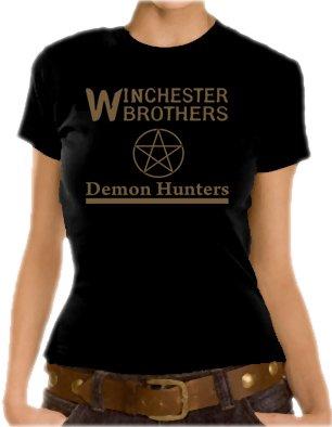 Supernatural - T-shirt da ragazza, con motivo Demon Hunters, XS-XL, diversi colori multicolore - Nero/Oro