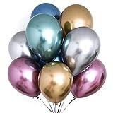PuTwo Luftballons Metallic, 50 Stück Luftballons Bunt Satz von Helium Luftballons in 6 Metallicfarben, Metallic Luftballons Helium Balloons Metallic für Deko Geburtstag, Deko Hochzeit, Vintage Deko