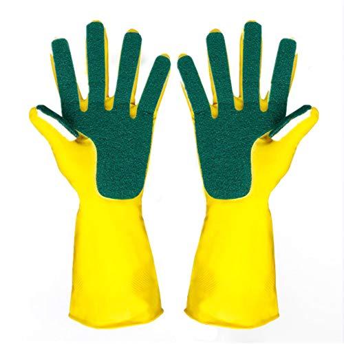 Creative Home Waschhandschuhe Garten Küche Geschirr Schwamm Finger Gummi Hausreinigung Handschuhe für die Spülmaschine Free Size gelb - Garten-handschuhe Gummi Aus