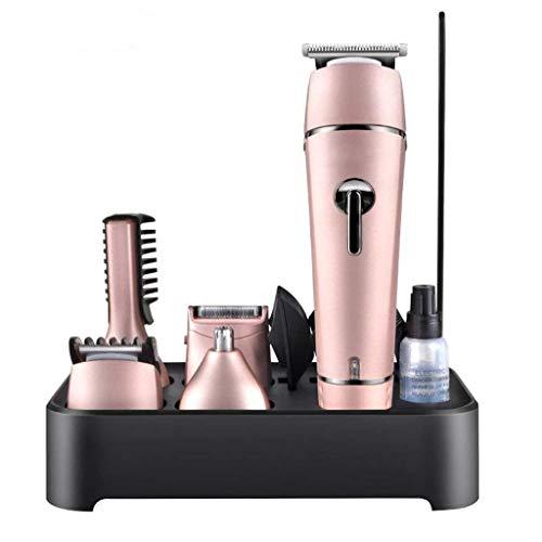 Elektrischer Haarschneider, professionelles Trimmer-Set, Multifunktions-5-in-1, kabellos, stumm, wiederaufladbar, wasserdicht, für Familien- / Friseurladen geeignet Pink