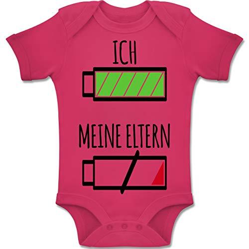 Shirtracer Strampler Motive - Ich und Meine Eltern Batterie - 1-3 Monate - Fuchsia - BZ10 - Baby Body Kurzarm Jungen Mädchen (Kleidung Spaß, Für Mädchen)