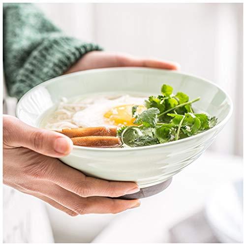 YYF Hetian vaisselle en céramique de jade - bol de soupe de nouilles rondes anti-brûlure maison 7 pouces (18cm) (Color : Green)