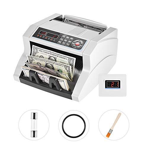 QWERTOUY Banknotenzähler Geldzähler mit UV- / MG- / MT- / IR- / DD-Falschgeld-Detektor Automatische Geldzählmaschine