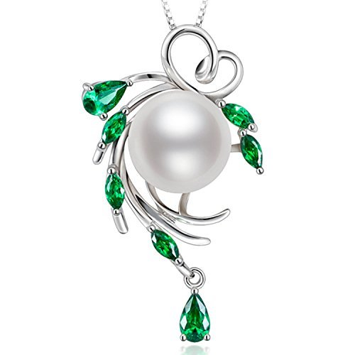 356e78628e63 Collier avec pendentif en perles d eau douce cultivées en argent sterling Cadeaux  Saint Valentin pour les femmes