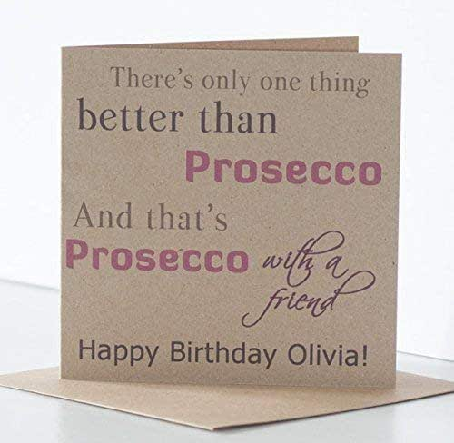 Prosecco Birthday Cards For Women Special Friend Or Best Friend Rustic Personalised Prosecco Birthday Card Amazon Co Uk Handmade