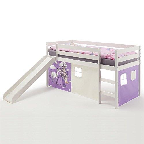 IDIMEX Spielbett Rutschbett Hochbett Benny, mit Rutsche in Kiefer massiv weiß, Vorhang in lila mit Prinzessinnenmotiv, Liegefläche 90 x 200cm (Mit Vorhang Hochbett)