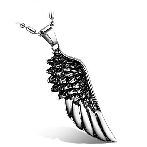Flongo Collana Uomo Donna Pendente Gotico Ali d'angelo Figura Argento nero in Acciaio