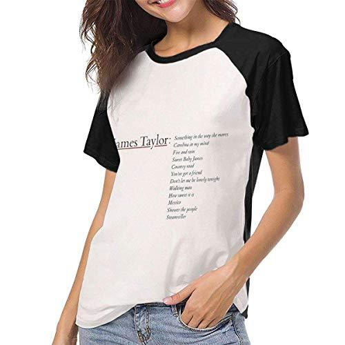 Bagew Damen T-Shirt Mit Rundhalsausschnitt, James Taylor Greatest Hits Womens Short Sleeve Raglan Baseball T-Shirt Black