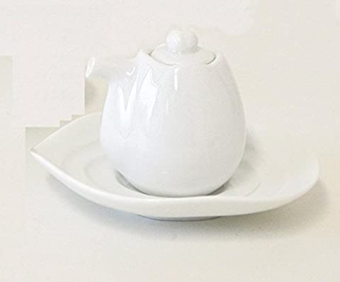 [2pcs] Yamani Keramik Miyama Minoyaki Sojasoße Pot Flasche mit Untertasse Weißes Porzellan aus Japan