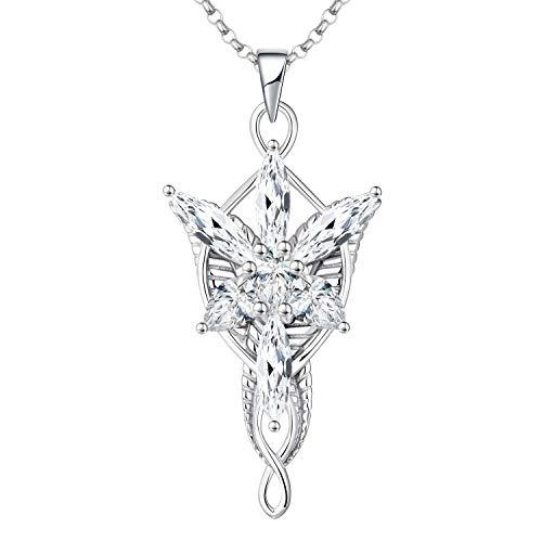 JO WISDOM Collar de Arwen Evenstar Plata de ley 925 con Colgante de Lord of the Ring Hobbit 5A Circonita con cadena, joyería Elvish para Mujer