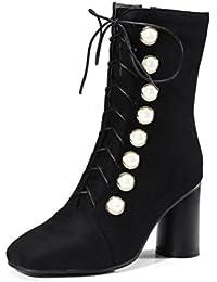 DYF Chaussures Bottes Talon Rugueux de Couleur Solide Imperméable à Tête Ronde Strass,Black,33