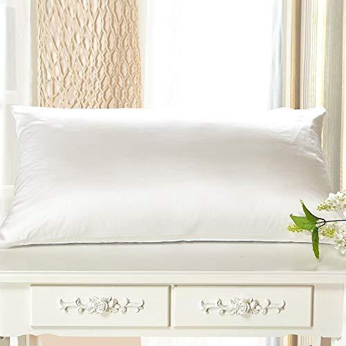 LilySilk Seide Kissenbezug Kissenhülle Uni Unterseite von Baumwolle mit Reißverschluss 1 Stück Wende Kissen in Schachtelverpackung (50x75cm, Weiß) Verpackung MEHRWEG -