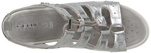 Geox D Sandal Vega A, Sandales femme métallisé (Plateado (Silver))