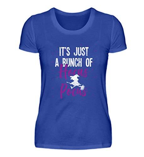 Shirtee Es ist nur Hocus Pocus - Hexe - Hexen Halloween Kostüm - Damenshirt -XXL-Neonblau