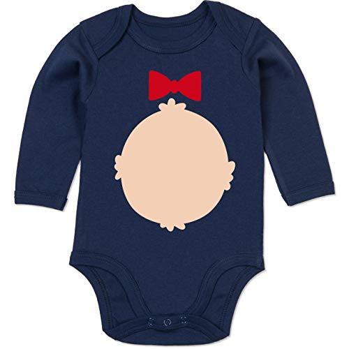 Baby Braunbär Kostüm - Shirtracer Karneval und Fasching Baby - Bär Kostüm Karneval - 6-12 Monate - Navy Blau - BZ30 - Baby Body Langarm