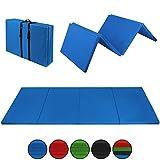 ALPIDEX Klappbare Leichtschaum Turnmatte 300 x 120 x 5 cm RG 18 mit Klettecken in verschiedenen Farben 3fach klappbar mit Antirutschboden, Farbe:blau