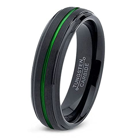 Tungsten Wedding Band Ring 6mm for Men Women Green Black Beveled Edge Brushed Polished Center Line Lifetime Guarantee Size 59