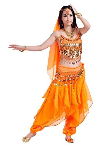 z Kostüme Ein Sechs-Stück Set Orange (Frauen Tanzkleider Kostüme)