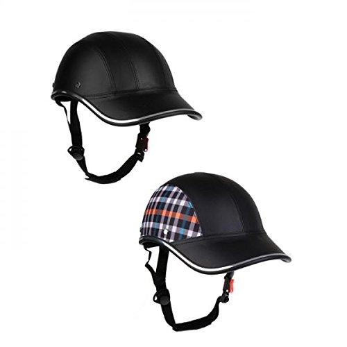 Sharplace 2 Stücke Baseballmütze Stil Motorrad Fahrradhelm Anti-UV Schutz Hut Schwarz