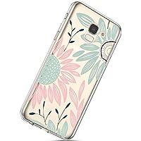 Handyhülle Samsung Galaxy J6 2018 Schutzhülle Transparent Weiche Silikon Durchsichtig Schutzhülle Muster Crystal Silikonhülle Ultradünnen TPU Handy Tasche Stoßfest Bumper Case,Sonnenblume