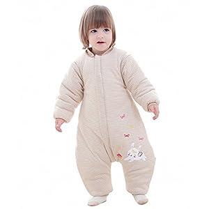 schlabigu Saco de Dormir para bebé, Invierno, niño, niña, recién Nacido, Pelele – 2,5 TOG con pies, para Todo el año Beige Katze Beige Talla:12-24monate