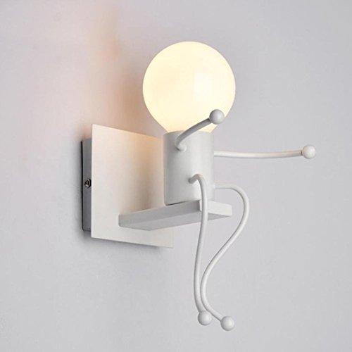 FSTH Retro Eisen Wand Leuchten Kreative Cartoon Gestaffelte Einzelner Menschen Wand Lampen Schlafzimmer Wohnzimmer Modern Decor Metall Nachttischlampe Kinder Geschenk Mini Wandleuchten Beleuchtung E27 (Weiß)