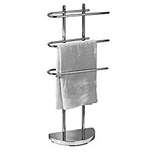 Top Home Solutions® Chrome Floor Standing Towel Stand with 3 U-Shaped Arms