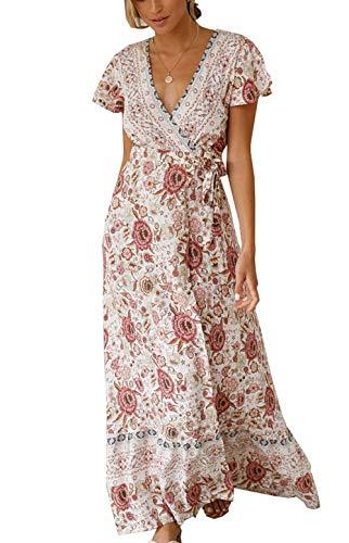Ajpguot Sommer Damen Lange Kleider Kurzarm V-Ausschnitt Strandkleider Blumen Kleid Maxikleid mit Schlitz Partykleider Abendkleid, Beige, S