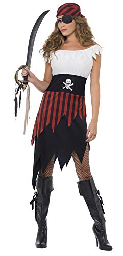 Smiffys Piraten-Schätzchen Kostüm mit Kleid und Kopfbedeckung, Medium
