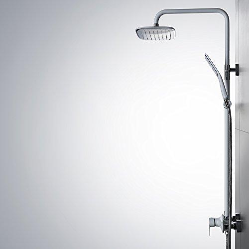Homelody – Duschsystem mit Einhebelmischer inkl. Brausestange und Brausegarnitur, Weiß - 9
