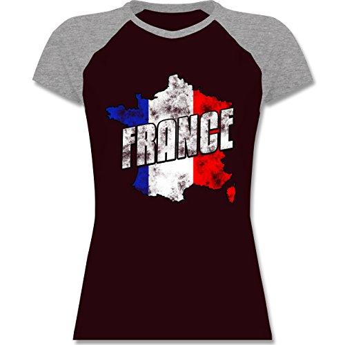 EM 2016 Frankreich France Umriss Vintage zweifarbiges Baseballshirt /  Raglan TShirt für Damen Burgundrot/Grau meliert