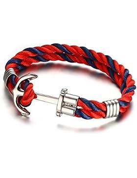 Gudeke 5MM Rot Blau Edelstahl Anker Seil Armband Manschette, Poliert