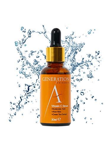 Sérum Vitamine C - Acide Hyaluronique - Vitamine E - Nettoie les cicatrices d'acné, les rides et...