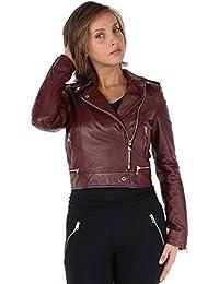24518852b8d Oakwood - Blouson style perfecto Yoko en cuir ref cco40521-bordeaux