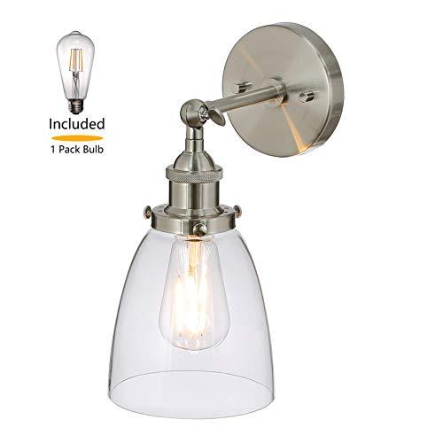 XiNBEi Wandleuchte 1 Licht Wandleuchte Aus Glas, Wandleuchte Mit LED-Birne Aus Gebürstetem Nickel für Loft, Küche & Flur XB-W160-BN - Nickel 1 Licht-wandleuchte