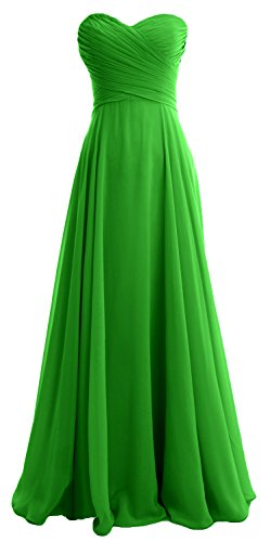 MACloth Women Strapless Pleated Chiffon Long Bridesmaid Dress Wedding Party Gown Green