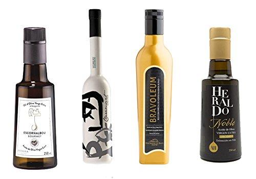 3.- Pack gourmet de 4 aceites oliva virgen extra de 250 ml cada botella: Escornalbou, Heraldo Noble, Bravoleum Nevadillo y Claramunt Koroneiki. Desde oleumbox te presentamos estos 4 excelentes aceites con aromas y sabores intensos.