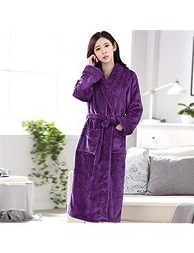 OHlive- Long-Type Franela Albornoz Pareja Albornoz cálido camisón Invierno Pijamas-púrpura Hombre (Color : Purple...