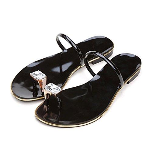 PENGFEI sandali delle donne Pantofole Watermains Sandali piatti Pantofole da spiaggia estate Sandali antiscivolo dolce donna flip flops Confortevole e traspirante ( Colore : Bianca , dimensioni : EU39 Nero