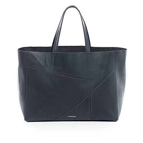 """FEYNSINN® Handtasche mit langen Henkeln JAX PUZZLE - Damen Schultertasche groß Ledertasche fit für 13 """" Zoll Laptop, iPad - Handtasche Damentasche echt Leder anthrazit"""