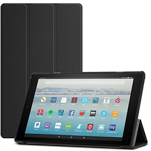 Infiland Hülle Fire HD 10 Tablet (7th Gen.- 2017 Modell) Ultra Slim Smart Schutzhülle mit Auto Schlaf/Wach Cover Fire HD 10 2017 Tablet mit Alexa Hands-Free(Schwarz)