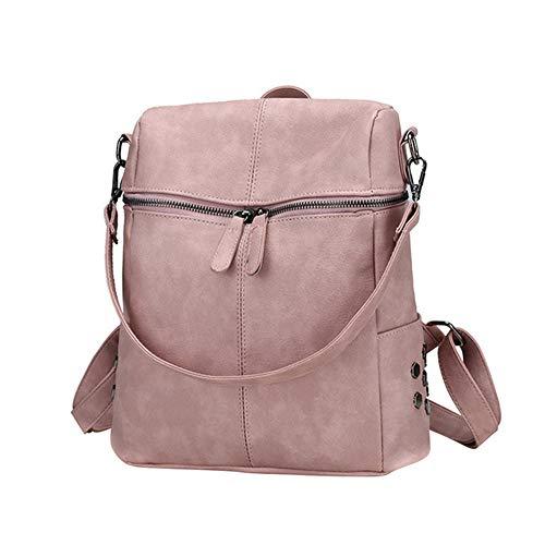 Casual große Kapazität Umhängetasche Retro Damen Rucksack Leder Pu Schulrucksack rosa 26 * 11 * 30cm Hop-pink Camo