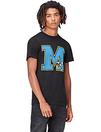 FIND T-Shirt Herren Mickey Mouse-Motiv Körpernahe Passform Schwarz (Black)