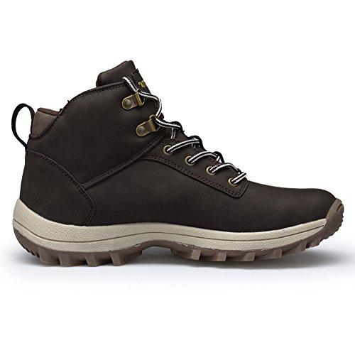 Fexkean Scarpe da Trekking Stivali da Escursionismo in Pelle Impermeabile per Invernali Uomo Outdoor Nero Marrone Cachi 38-46 Marrone
