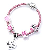 'Special Niece' Pink Leather Charm Bracelet for Girls Presented in High Quality Gift Pouch (15)