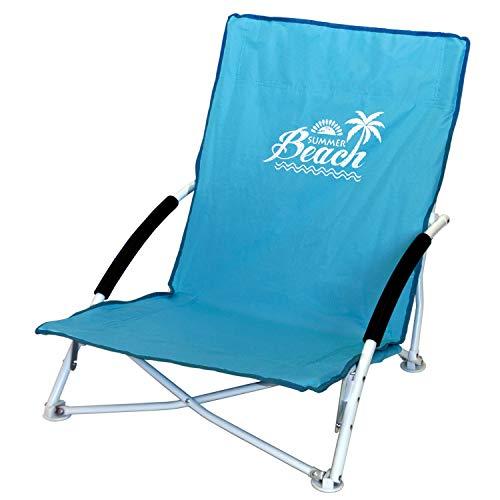 Wohaga Strandstuhl Campingstuhl Summer-Beach inkl. Transporttasche Beachchair Klappstuhl Gartenstuhl Campingmöbel Gartenmöbel, Farbe:Blau